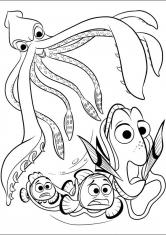 Раскраска Погоня за Дори и рыбками