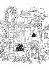 Раскраска Дом в пне