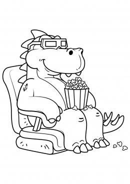 Раскраска Динозавр смотрит кино, скачать и распечатать ...