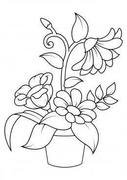 Раскраска Цветок в горшке с большими листьями, скачать и ...