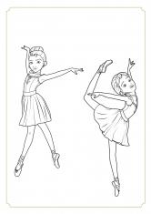 Раскраска Балерина Нора и Дора