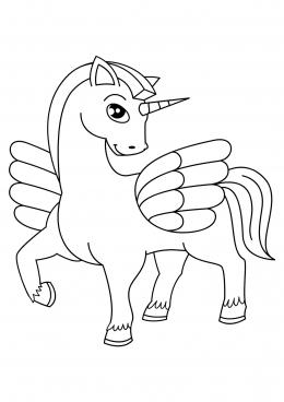 Раскраска Единорог с крыльями, скачать и распечатать ...