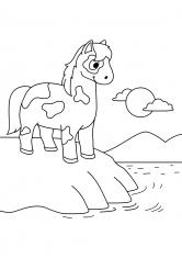 Раскраска Лошадь у воды