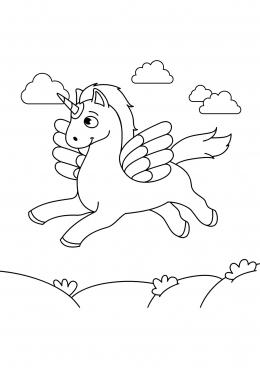 Раскраска Единорог в облаках, скачать и распечатать ...