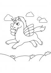 Раскраска Единорог в облаках