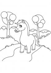 Раскраска Лошадь на тропинке