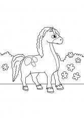 Раскраска Лошадь в тележке