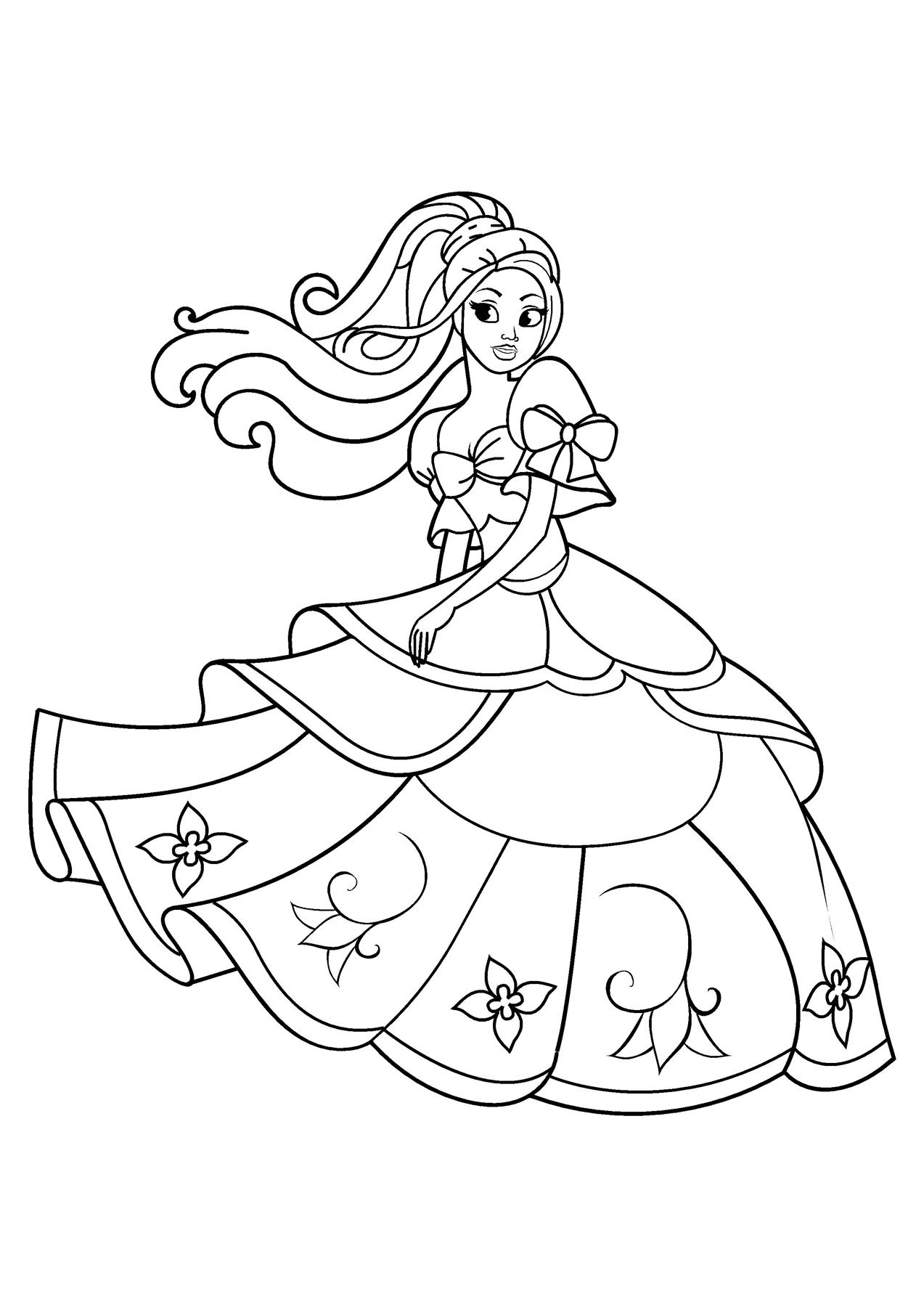 Принцесса в пышном платье с цветами - razukrashki.com