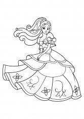 Раскраска Принцесса в пышном платье с цветами