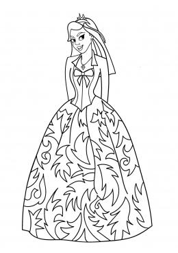 Раскраска Принцесса в кружевном платье, скачать и ...