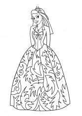 Раскраска Принцесса в кружевном платье