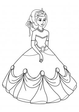 Раскраска Принцесса в нарядном платье, скачать и ...