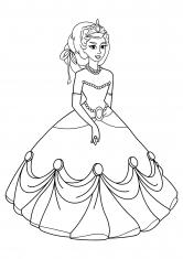 Раскраска Принцесса в нарядном платье