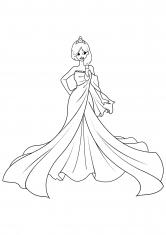 Раскраска Принцесса в шелковом платье