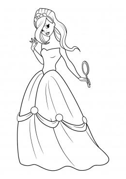 Раскраска Принцесса с зеркалом, скачать и распечатать ...