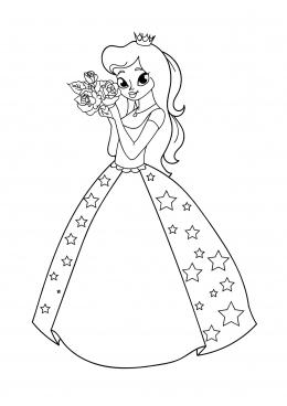 раскраска принцесса в платье со звездами скачать и