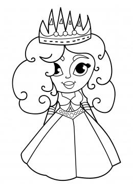 Раскраска Принцесса с большими глазами, скачать и ...