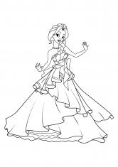 Раскраска Принцесса <strong>распечатать</strong> в самом красивом платье